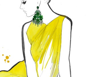 Original watercolor sketch, Yellow Sarong, by Jessica Durrant