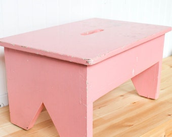Vintage Painted Farm Work Bench, Chippy pink