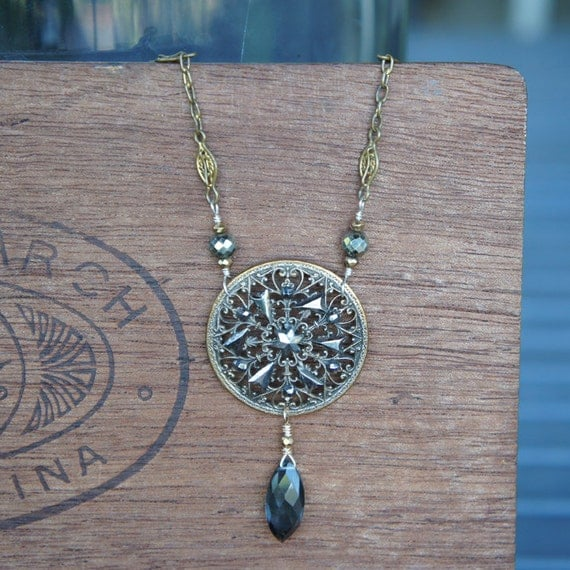 Antique Assemblage Necklace with 19th Century Cut Steel Button, Pyrite, Antique Chain and Teal Quartz