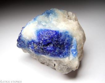Raw Lazurite / Pure Lapis Lazuli with Pyrite in Matrix, Rough Natural Piece // Third Eye Chakra // Crystal Healing // Mineral Specimen