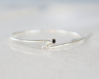 Hug Bangle - Black and White Diamond Dual Stone Bracelet by Prairieoats