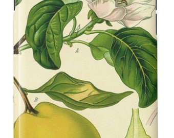 iPhone Case Vintage Botanical Print Floral White Green Yellow