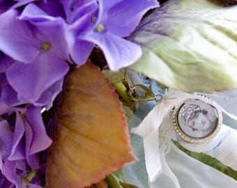 Memorial Mourning Bouquet Charm/Pendant Photo Keepsake Heirloom Necklace - Bride, Wedding, Bridal Bouquet