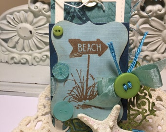 Beach Gift Tags...Party Favor Tags...Birthday Tag...Starfish..Beach...Sea Tags..Set of 2