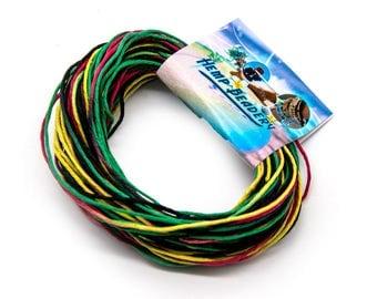 Rasta Hemp Twine, 20 Yards,  1mm,  Multi Colored Hemp,  Craft Cord, Hemp String