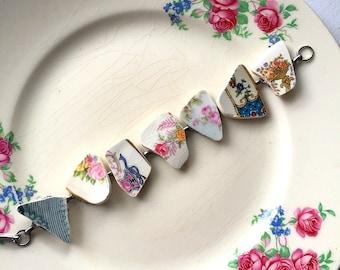 Broken china jewelry -  broken china bracelet - made from antique broken china plates - ecofriendly jewelry