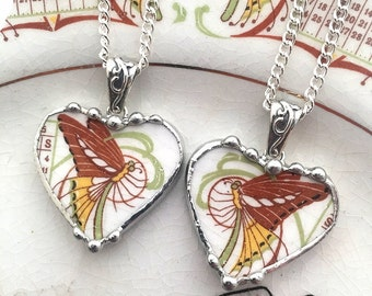 Set Of Two - Broken China Jewelry - heart pendant necklaces - antique 1915 Art Nouveau butterflies - BFF - sisters - mother/daughter jewelry