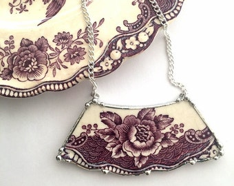 Broken china jewelry - broken china necklace - antique floral purple plum mulberry toile English transferware, recycled china upcycled china