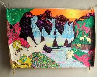 "Vintage Blacklight Poster Neon ""Super Eden"" 1970s Psychedelic Op-Art"