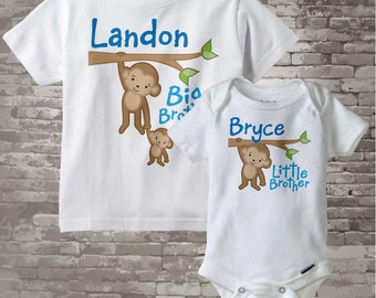 Big Brother Little Brother Shirt set of 2, Sibling Shirt, Personalized Tshirt with Cute Monkeys 12302013g