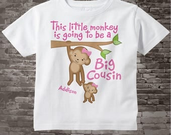 This Little Monkey is Going to Be A Big Cousin Shirt, Cousin Onesie, Personalized Big Cousin Monkey with Little Girl Cousin 01032014e