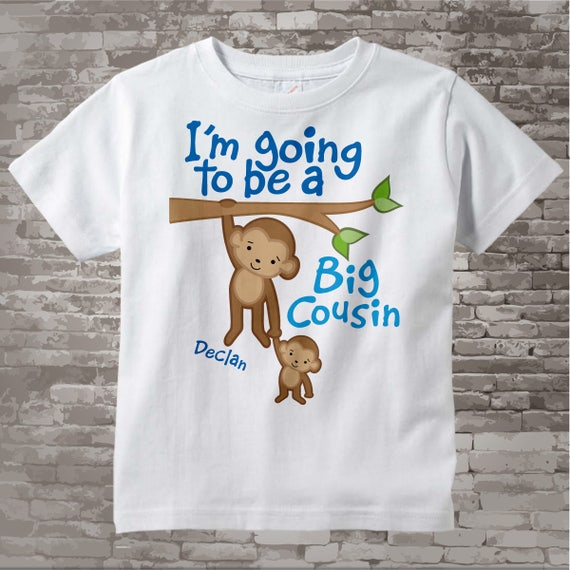 I'm Going to Be A Big Cousin Onesie, Big Cousin Tee Shirt, Personalized Big Cousin Shirt, Monkey Shirt with Unknown Sex Baby (03142012a)