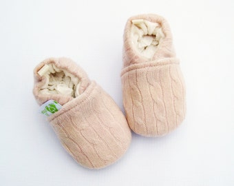 Cashmere Wool Powder Blush Cables / All fabric Soft Sole Baby Shoes / Made to Order / Babies