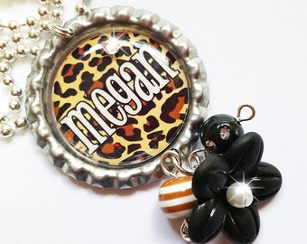 CHEETAH DESIGN - Personalized Custom Bottle Cap Pendant Necklace - Beaded Dangles and Swavorski Crystal Accents - Perfect for Gifts