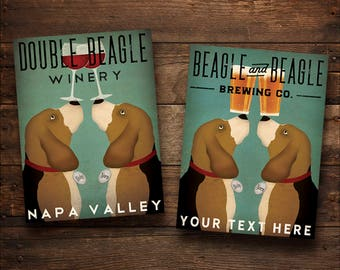 FREE CUSTOM Double BEAGLE Beer Wine Coffee Tea Company Ready-to-Hang Stretched Canvas Panel Signed