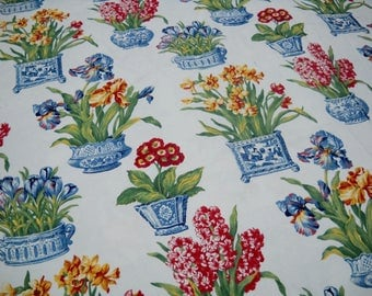 Fabric, Home Dec, Floral on White, Unfinished Bedspread, Beautiful for Spring