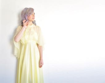 lemon yellow 1970 boho gown . sheer matching capelet .extra small.xs