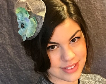 Grey Fascinator/Grey Sinamay/Blue flower fascinator/English hat/Sinamay fascinator/Ladys grey hat/handmade fascinator/Fascinator made in USA
