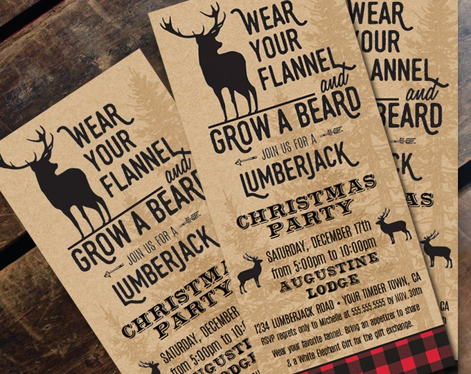 Plaid Christmas Invitation - Flannel Party,Rustic Christmas Party, Lumberjack Christmas | Editable Text - DIY Instant Download PDF Printable