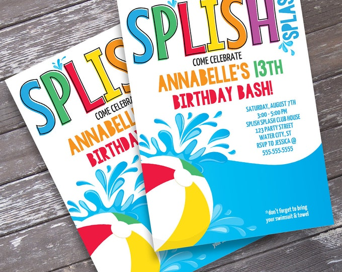 Pool Party Invitation - Slip n' Slide Party, Beach Party, Summer Birthday, Water Party | Editable Text - DIY INSTANT Download PDF Printable