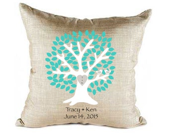 Wedding pillow, tree pillow cover, personalized gift, bride and groom, custom pillow, wedding gift, love birds, teal and gray, mr. and mrs.