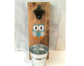 owl bottle opener, rustic bottle opener, groomsmen gift, Father's Day gift, reclaimed wood, owl decor, housewarming gift, wooden owl