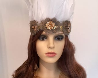 White feather tribal festival headband, Coachella, Burning Man, Secret Garden Party.