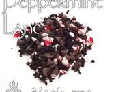 Peppermint Lane Tea - loose leaf black tea, candy cane, chocolate, Santa, hot chocolate, winter, frost, seasonal, Jul, truffle, peppermint