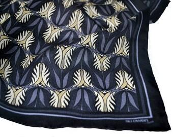 Silk Pocket Square / Floral Silk Pocket Square / Purple Pocket Square / Tulips Silk Pocket Square / SAMPLE SALE