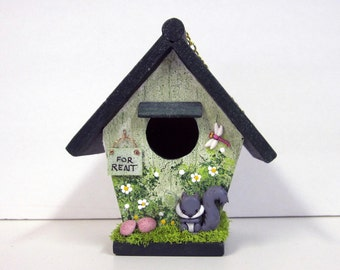 Mini Birdhouse with Squirrel