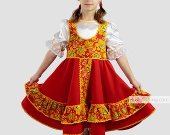 Russian dress khokhloma Slavic dress Russia dance costume traditional folk dress folklore Russian clothing circle skirt ethnic attire