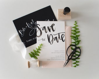 black watercolor calligraphy custom save the date