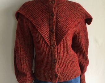 Vintage Women's 80's Cardigan Sweater, Wool Blend, Red, Black, Gold (M/L)
