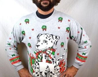 Ultimate Ugly Dalmation Dog 1980s Vintage Christmas Sweater