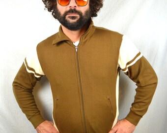 Vintage 1980s Striped Warm Up Hipster Track Jacket Sweatshirt
