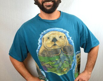 Vintage 1990s 90s Oversized Sea Otter Tee Shirt - XL