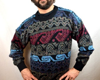 Vintage 80s Ski Blue Purple Geometric Sweater