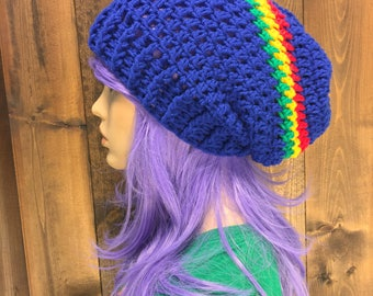 Crochet Slouch Beanie Hat Toque with Chunky Brim / MOONGLADE / Blue Rasta