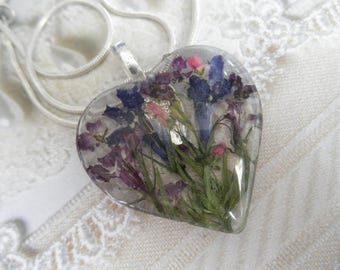 Blue & Purple Lobelia,Pink Veronica, Purple Alyssum Pressed Flower Glass Heart Pendant-Symbolizes Loyalty,Worth Beyond Beauty, Faithfulness