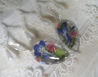 Royal Blue Lobelia, Pink Veronica,Ferns Pressed Flower Glass Teardrop Leverback Earrings-Gifts Under 30-Nature's Art-Symbolizes Loyalty