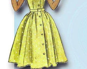 1950s Vintage McCalls Sewing Pattern 9210 Little Girls Shirtwaist Dress Size 10