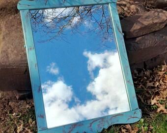 Mirror Farmhouse Mirror Blue Skies Distressed Finish Vintage Primitive Cottage Maple Wood Poppy Cottage Painted Furniture