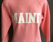 Maine 1980s vintage sweatshirt - soft and pink size large/XL