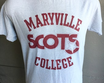 Maryville College Scots 1980s vintage soft grey t-shirt - size large