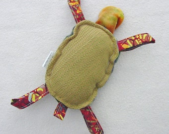 Wrap Scrap Chunky Slings Finland Handwoven - Turtle Plush Rattle - Green Orange Brown