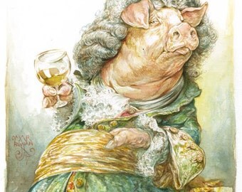Piggie in a Wiggie - original watercolor painting - funny - pig - costume - wig - artwork