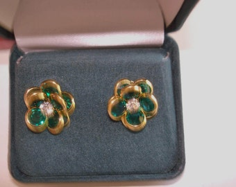 Emerald Green Crystal  Earrings Gold Tone Filigree Studs