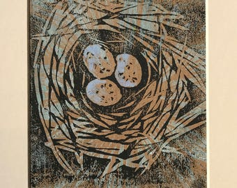 Birds nest with eggs - limited edition lino print