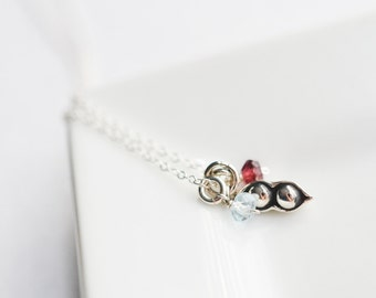 Two Peas in a Pod Necklace - Sterling Silver Peapod Necklace - Personalized Necklace for Mom - Mom Necklace with Birthstones - Gift for Mom