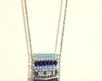 Necklace - Beaded Boho Ladder Style - Blues - One of a Kind